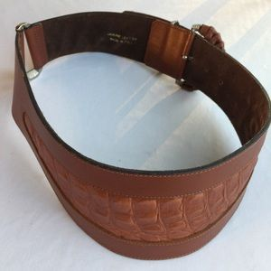 GENUINE LEATHER BROWN 2 TONE MADE IN ITALY BELT
